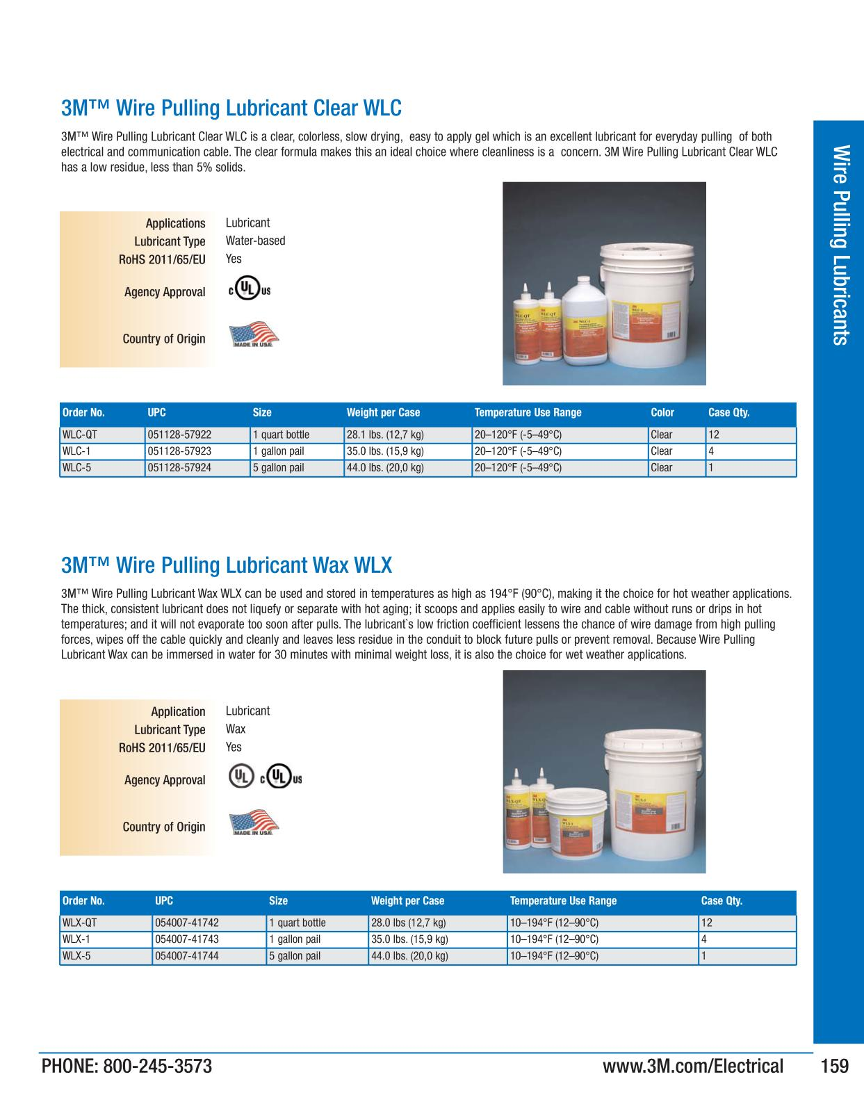 Wire Pulling Lubricants - 3M Electrical Products Page 159