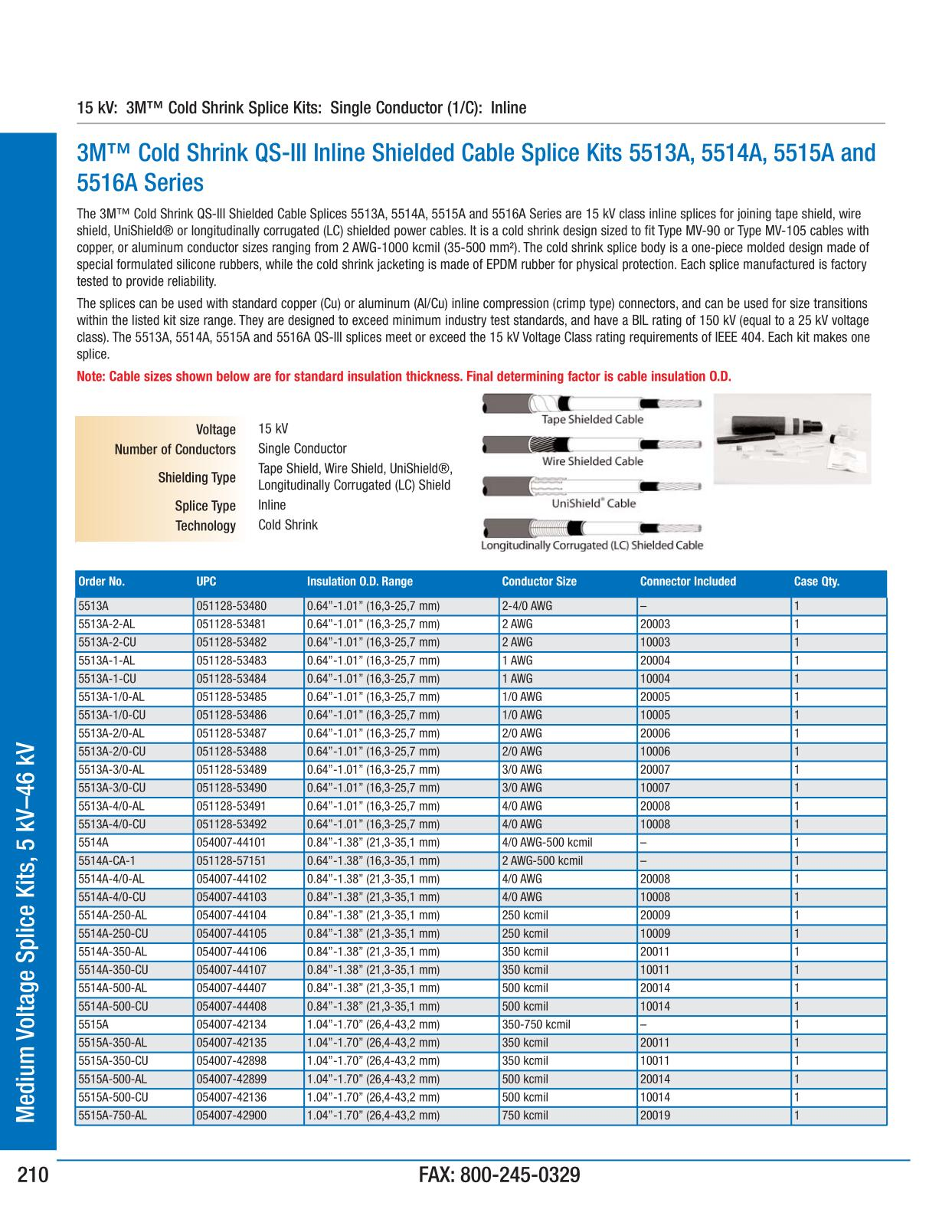 3M Electrical Products Page 210 - Medium Voltage Splice Kits, 5 kV ...