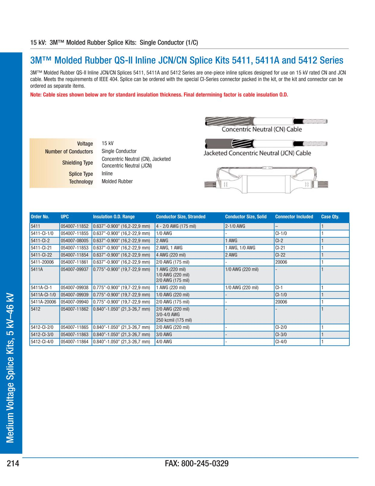 3M Electrical Products Page 214 - Medium Voltage Splice Kits, 5 kV ...