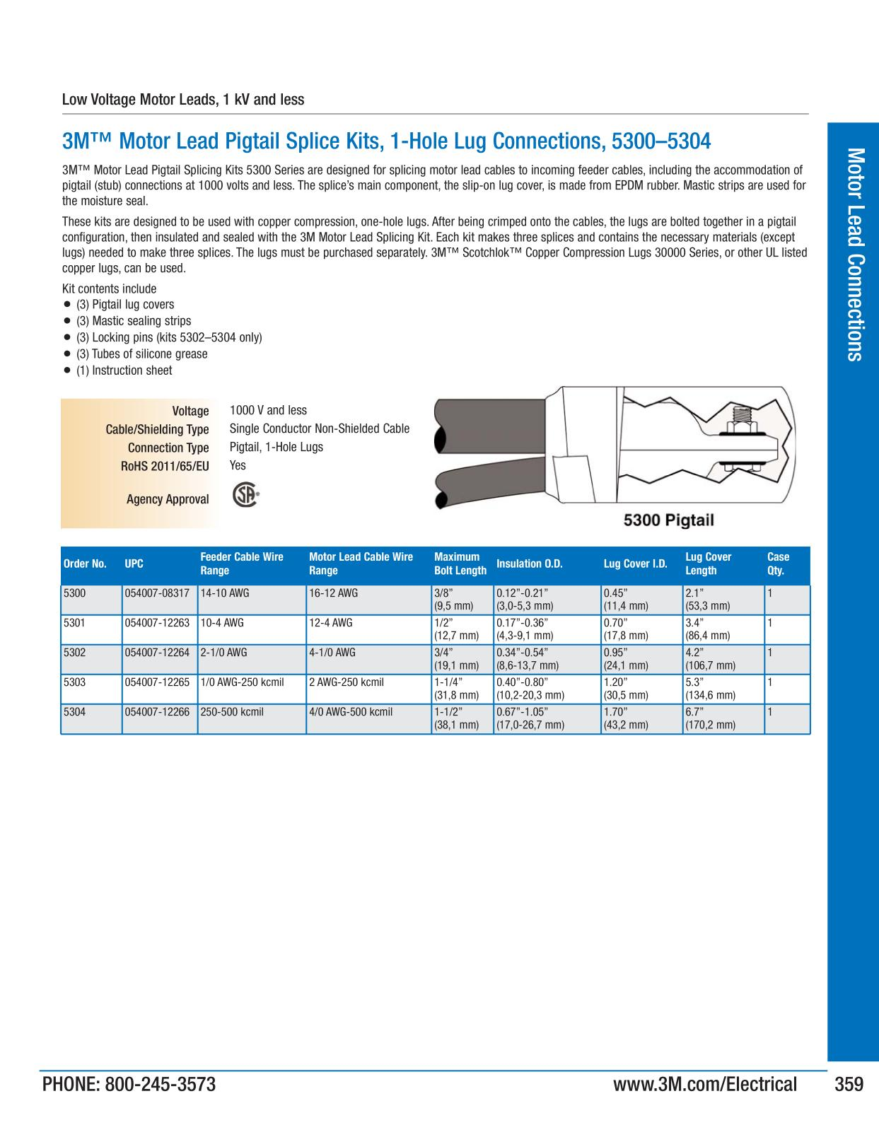 Motor lead connections 3m electrical products page 357 catalogs xflitez Choice Image